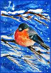 Mobile - PC Group of  Bullfinch snowy day jigsaw puzzle