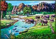 Mobile - PC Elephant crossing river jigsaw puzzle