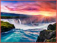 Mobile - PC Group of  Godafoss Waterfall Iceland jigsaw puzzle