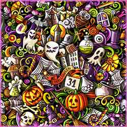 Halloween colorful doodle Jigsaw Puzzle