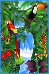 Parrot Toco in rainforest jigsaw puzzle