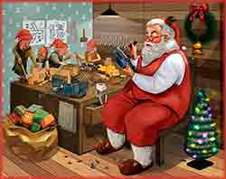 Santa Claus with elves in workshop Jigsaw Puzzle