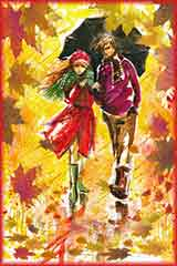 autumn couple walking jigsaw puzzle