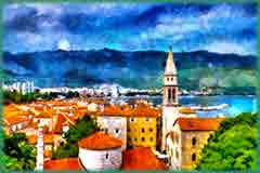 Mobile - PC coastal town view jigsaw puzzle