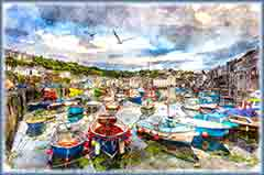 Mobile - PC cornwall harbour boats jigsaw puzzle
