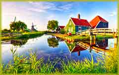 Mobile - PC dutch windmill near canal jigsaw puzzle