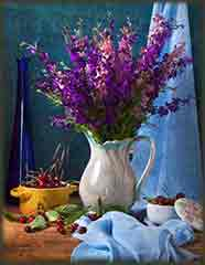 Mobile - PC Group of  flowers cherries still life jigsaw puzzle