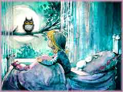 Mobile - PC girl looking at owl jigsaw puzzle