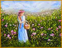 Mobile - PC impressionism_girl_picking_flowers jigsaw puzzle
