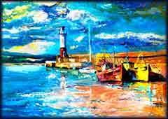 Mobile - PC lighthouse boats oil jigsaw puzzle