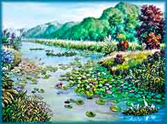Mobile - PC Group of  lotus in river jigsaw puzzle