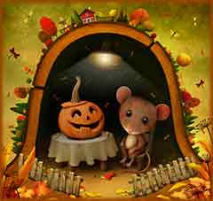 mouse and pumpkin Jigsaw Puzzle