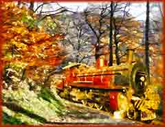 Mobile - PC steam train in forest jigsaw puzzle