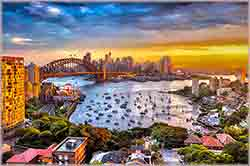 Mobile - PC sunset Sydney skyline jigsaw puzzle