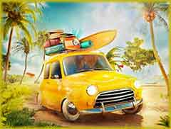 Mobile - PC surfboard car jigsaw puzzle