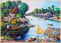 Mobile - PC thai life painting jigsaw puzzle