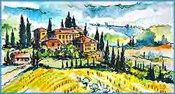 Mobile - PC tuscany landscape watercolor jigsaw puzzle