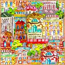 Mobile - PC watercolor vintage cityscape jigsaw puzzle